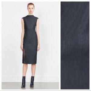 NWT. Zara Blue Denim Pencil Dress. Size XS.